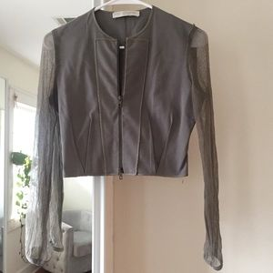 Stella McCartney mesh sleeve cropped jacket